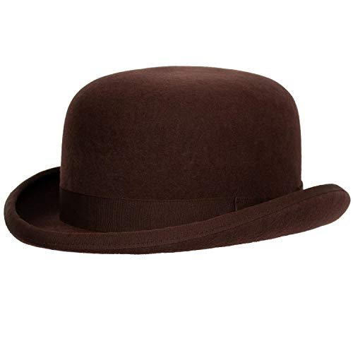 (Levine Fleming Firm Felt Derby Bowler Hat 100% Wool (3+ Colors) (Medium (fits 7 to 7 1/8), Brown))