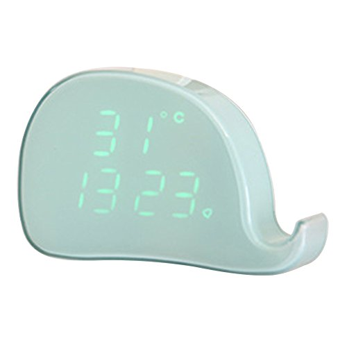 bjduck99 Magnetic Whale Shape LED Alarm Clock Date Temperature Kid's Room Table Clock Silent Light Phone Ring Sensor