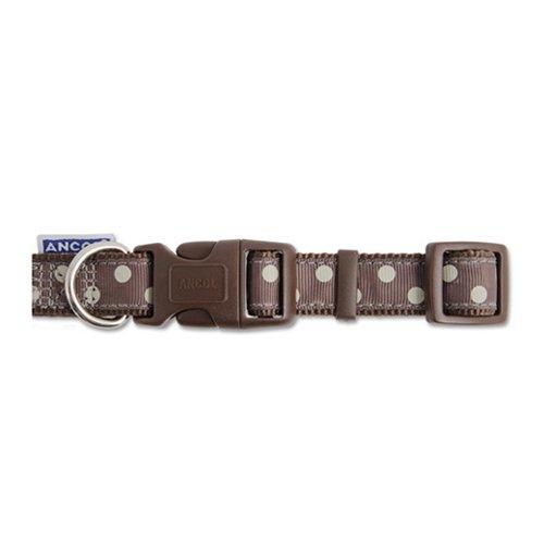 Ancol Vintage Polka Adjustable Collar Dog 30-50cm Mocha Polka