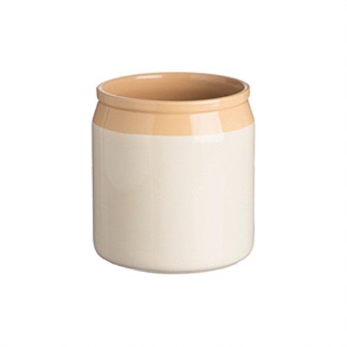 Mason Cash Original Cane Stoneware Utensil Jar, 6-1/2-Inches by 6-3/4-Inches, Cream, Beige