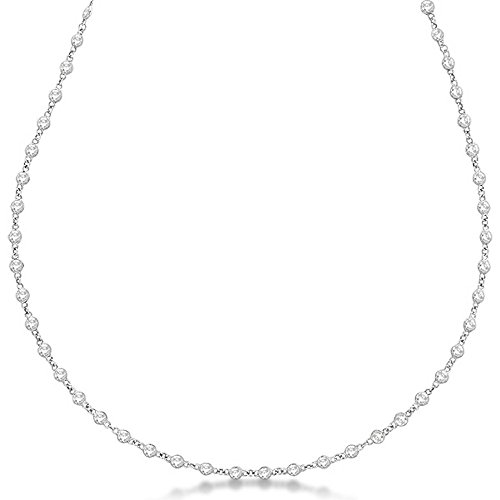 (Diamond Station Tennis Necklace Eternity For Women in 14K White Gold (3.04ct))