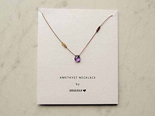 Amethyst necklace with citrine and garnet gemstones, silk necklace, February birthstone necklace, minimalist necklace, pendant necklace, gemstone necklace, hand knotted necklace, Soulsilk necklace
