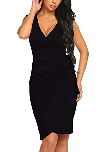 (BLUETIME Women's Business Slim Cocktail Pencil Dress Cap Sleeve Bodycon Wrap Dress (XL, Black))