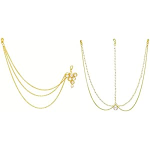 MEENAZ Latest Hair Jewelry Traditional Gold Pearl Stylish Chain Mathapatti Combo Maang Tikka Jewellery Set for Women…