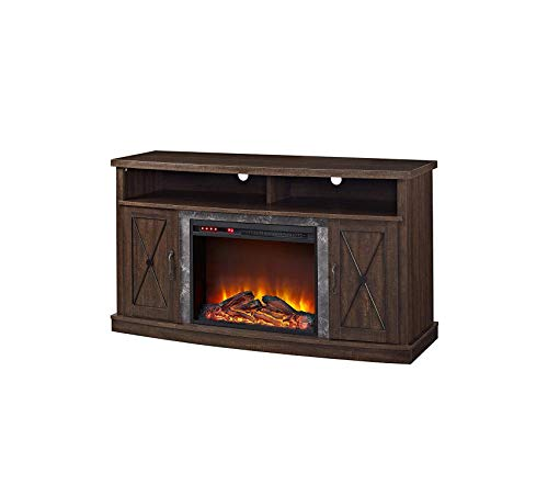 Wood & Style Barrow Creek Electric Fireplace TV Stand for TVs up to 60in Espre Decor Comfy Living Furniture Deluxe Premium Collection