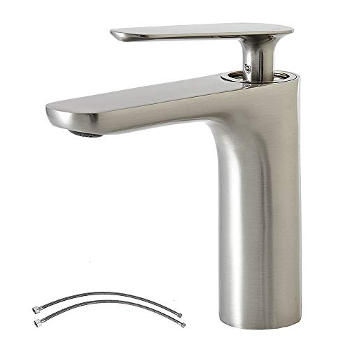 Commercial Modern Stainless Steel Single Handle Brushed Nickel Bathroom Faucet, Lavatory Vanity Sink Faucet Without Pop Up Drain
