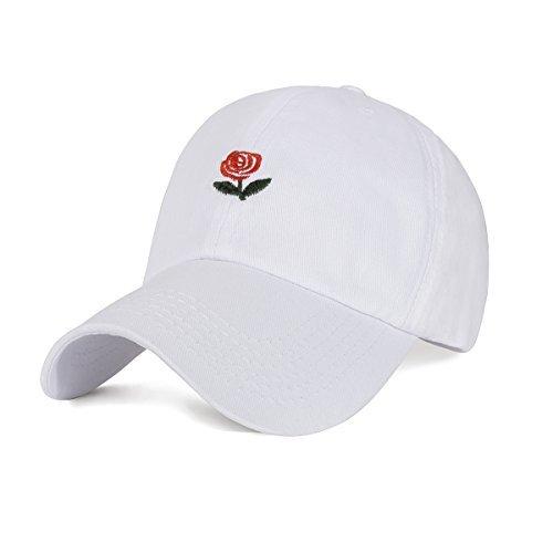 CHOSUR Embroidered Rose Baseball Cap for Women Adjustable Plain Dad Hat Multiple Colors(White)