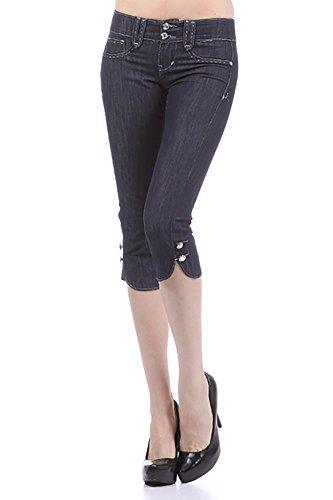 Capri Blue Rhinestone (Limit 33 Juniors Teens Denim Capri Pants Jeans Low Rise Pockets Bling Rhinestone Blue Size 13)