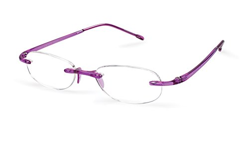 Gels - Lightweight Rimless Fashion Readers - The Original Reading Glasses for Men and Women - Amethyst (+2.50 Magnification Power) - Scojo Reading Glasses Gels