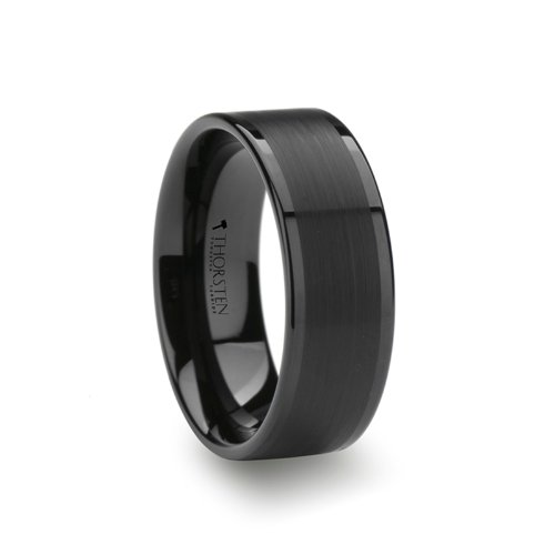VULCAN Flat Black Tungsten Ring with Brushed Center & Polished Edges - 8mm by Thorsten Rings