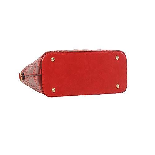 Sacs D'épaule Capacité Rond Sac Red Diagonale En En Vintage LQQAZY Bois à Main Relief Grande AwvqOqd