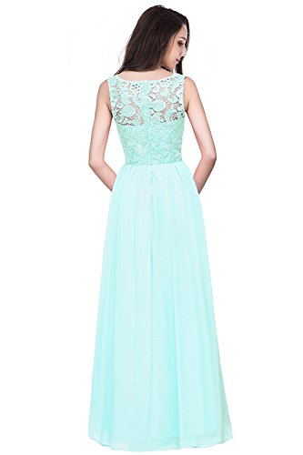 Mintgrün Damen Festkleid 32 Ärmellos Abendkleider MisShow Lang Spitzen Brautjungfernkleider Ballkleider Gr 46 BBPqrf