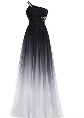 Party Prom En Fiesta De Club Negro Y La Elegante Drasawee Gasa Formal Gradiente Blanco Mujer Vestidos vw1WqHz