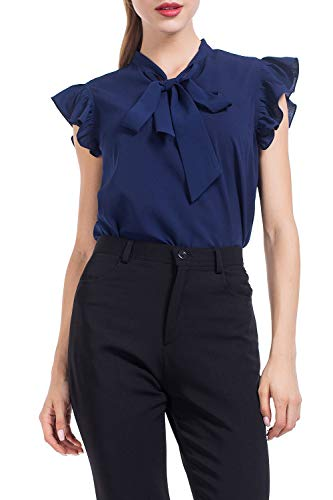 AUQCO Women's Bow Tie Blouse Casual Ruffle Cap Sleeve Floral Top Shirts Navy Blue Short Sleeves Bow