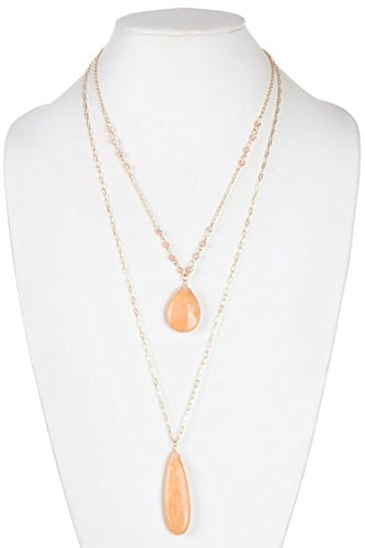 DIVA & DUCHESS STUNNING TEARDROP STONE PENDANT LAYERED NECKLACE (Coral) (Pig Pen Costume)