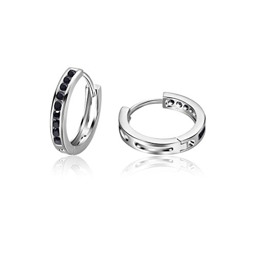 Black Silver Hoop - Carleen 925 Sterling Silver Channel Setting Round Cut 9-stone Cubic Zirconia CZ Hinged Hoop Earrings for Women Girls Diameter 1.8cm (Black)