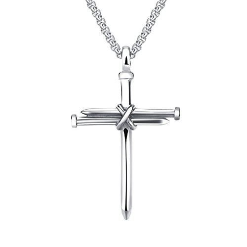 UM Jewelry Women Men Stainless Steel Antique Nail and Wire Cross Pendant Crucifix (Wire Crucifix)