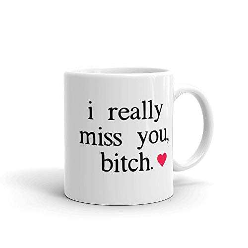 I Really Miss You Bitch Best Friend Long Distance Coffee Mug | Far Away Funny Friendship Ceramic Cup Unique Gift Novelty Ceramic Coffee Mug Tea Cup - 11oz White