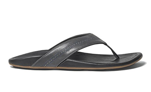 OLUKAI Maka - Mens Leather Sandals Dk Shadow/Black - 10