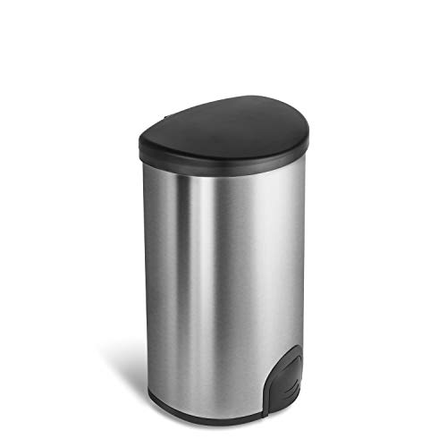 NINESTARS TTT-50-19 Automatic Tap Sensor Trash Can, 13 Gal 50L, Stainless Steel Base (D Shape, Black Lid)