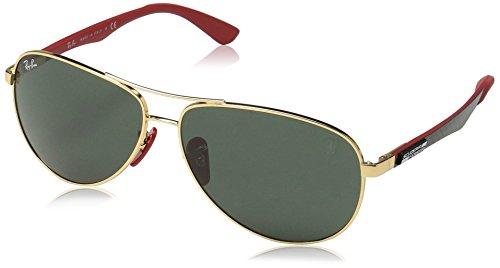 Ray-Ban RB8313M Scuderia Ferrari Collection Aviator Sunglasses, Gold/Green, 61 ()