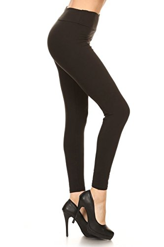 Leggings Depot Yoga Waist REG/Plus Women's Buttery Soft Solid Leggings 16+Colors (Plus Size (Size 12-24), Black) by Leggings Depot