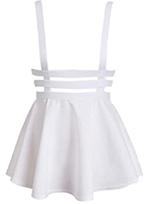 FLCH+YIGE Women's Suspender Skirts Basic High Waist Versatile Flared Skater Skirt