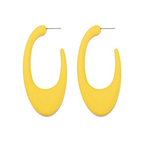 (GUNIANG Large Colorful Yellow Hoop Earrings for Women, Girls Geometric Earring Hoops for Sensitive Ears Fun Dangle 80s)