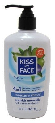 Kiss My Face Moisture Shave 11oz Fragrance Free 4-In-1 Pump (2 Pack) by Kiss My ()