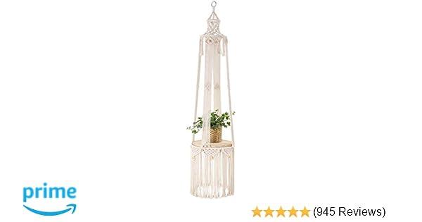 with Wood Plate Hanging Baskets Original Hanging Shelf Indoor Plant Hanger Planter Rack Flower Pot Holder Boho Home Decor Cotton Rope