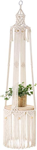 Mkono Macrame Hanging Shelf Indoor Plant Hanger Planter Rack Flower Pot Holder with Beads Boho Home Wall Decor (with Wood Plate)