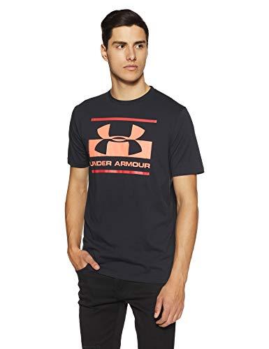 Under Armour Mens Blocked sportstyle logo, Black (002)/Neon Coral, Medium