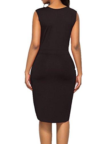 Sleeveless Women's Bodycon Low Black to Plus Pencil Wear Dress High Bodycon4U Zipper Work Dress Size w8qUzdn8TR