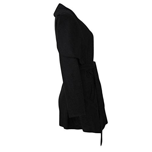 Ropa Larga Mujer Solapa Romacci Manga Informal de Gris Invierno para de de Bolsillos Negro Caqui Negro Abrigo de Grande Sólido Chaqueta Abrigo fwwIOq76