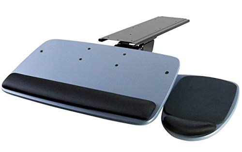 Adjustable Shelf Keyboard (Mount-It! Under Desk Keyboard Tray, Adjustable Keyboard and Mouse Drawer Platform with Ergonomic Wrist Rest Pad, 17.25