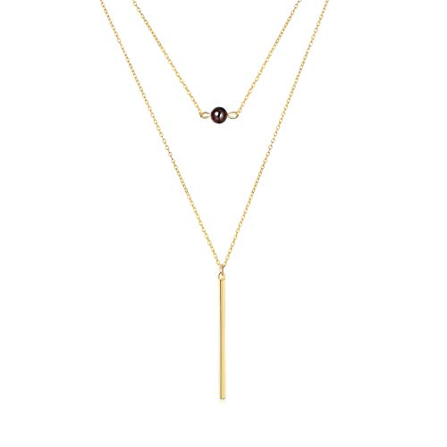 SEAYII Women Layered Necklace Gold Bar Drop Birthstone Garnet Pendant Dainty Chain 14K Gold Fill 2 Layer Boho Beach Simple Delicate Handmade Gold Jewelry Gift ()