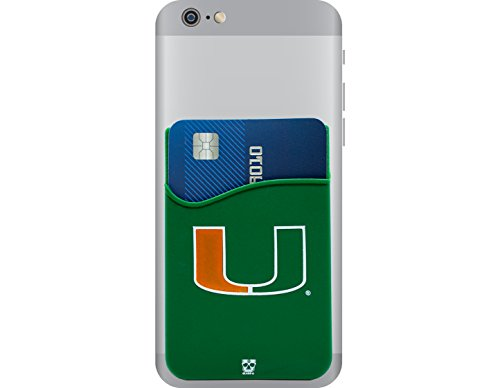 Miami Hurricanes Adhesive Silicone Cell Phone Wallet/Card Holder for iPhone, Android, Samsung Galaxy, & most Smartphones