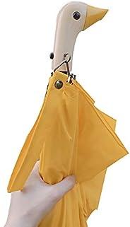 Sun Umbrella Cute Duck Head Wooden Handle Two Folding UV Protection Women Sun and Rain Umbrellas for Children
