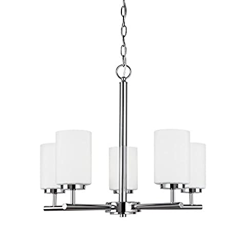 Sea Gull Lighting 31161-05 Oslo Five-Light Chandelier with Cased Opal Etched Glass Shades, Chrome - Etched Opal Glass Shade