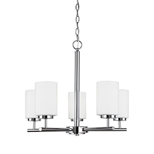 Cheap Sea Gull Lighting 31161-05 Oslo Five-Light Chandelier with Cased Opal Etched Glass Shades, Chrome Finish
