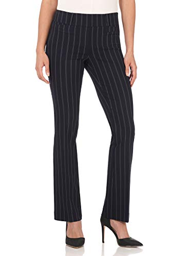 (Rekucci Women's Ease in to Comfort Fit Barely Bootcut Stretch Pants (6,Navy Stripe))