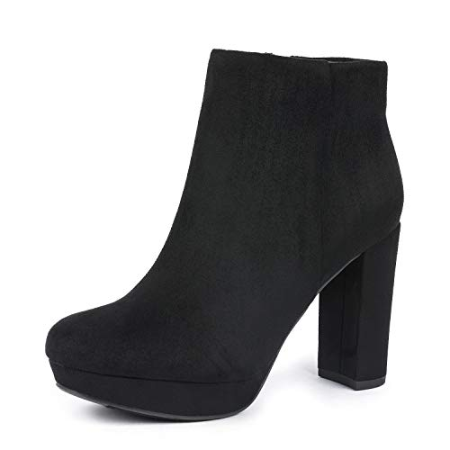 DREAM PAIRS Women's Stomp Black High Heel Ankle Bootie Size 5 B(M) US for $<!--$34.99-->
