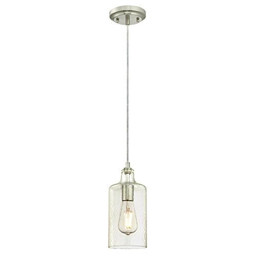 Westinghouse Lighting 6329000 One-Light Indoor Mini Pendant, Brushed Nickel Finish with Clear Textured Glass, (Brushed Nickel Pendant Mini)