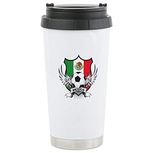 CafePress Mexico World Cup Soccer Stainless Steel Travel Mug Stainless Steel Travel Mug, Insulated 16 oz. Coffee Tumbler