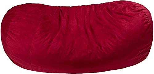 AmazonBasics Memory Foam Filled Bean Bag Lounger with Microfiber Cover – 7 , Red