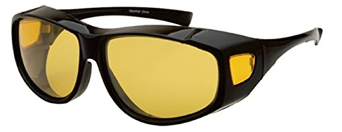 Yellow Night Driving Fit Over Glasses, Wear Over Prescription Glasses, Yellow Lens for Better Night Vision, Size Large, Black (Carrying Case - That Fit Glasses Sunglasses Your Over