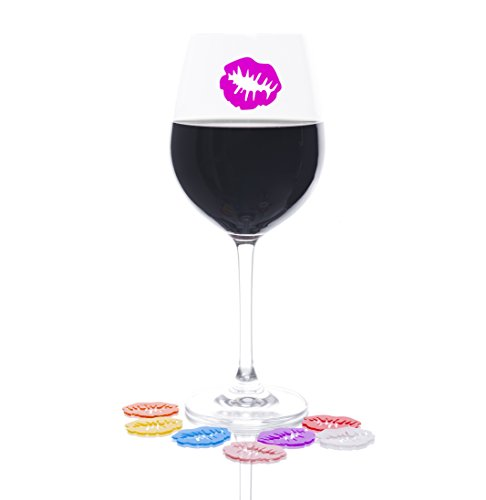 8 Kiss My Glass Silicone Lips Wine Glass Charm Marker Tags by LePrene. Easily Identify Guest's Drinks With These Fun Reusable Lips In 8 Different Colors. Reusable, Cling to Glass Or Ceramic Surface