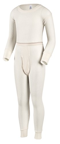 Indera Boys Traditional Thermal Underwear Shirt and Pant Set, Natural, Large