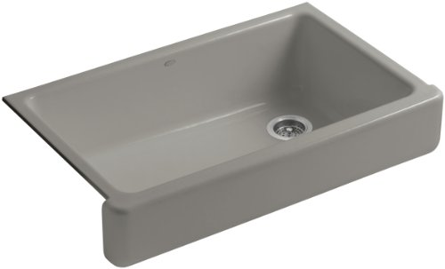 KOHLER K-6488-K4 Whitehaven Self-Trimming Apron Front Single Basin Sink with Short Apron, Cashmere