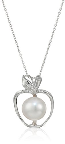 Bella Pearl Sterling Silver Apple Shaped Freshwater Pendant Necklace, 16